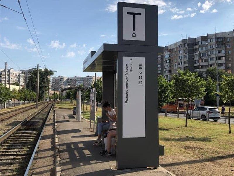 В Краснодаре поставили первую тестовую трамвайную остановку с новым дизайном 2