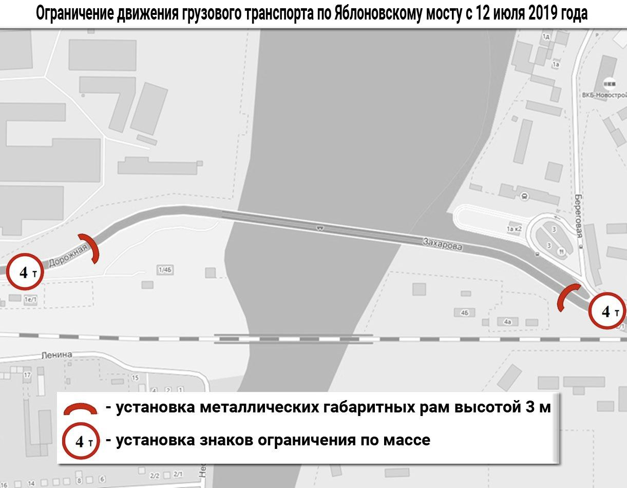Проезд через Яблоновский мост будет запрещен грузовым авто и автобусам с 12 июля. Навсегда!